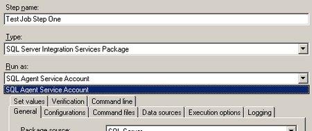 Als RunAs steht nur das Benutzerkonto des SQL Server Agents zur Verfügung