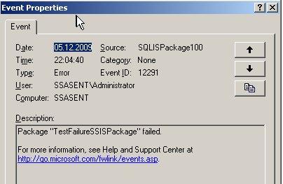 Details des Eventlogs beim Scheitern eines Pakets