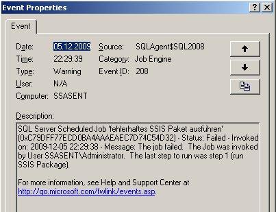 Ereignis-Details der SQL Server Agent-Meldung, dass der Job nicht erfolgreich war
