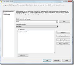Eingabefeld für SQL als Datenquelle